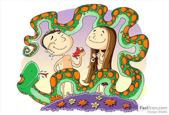 Ilustração Infantil Adão e Eva