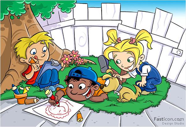 Ilustração Infantil Amigos
