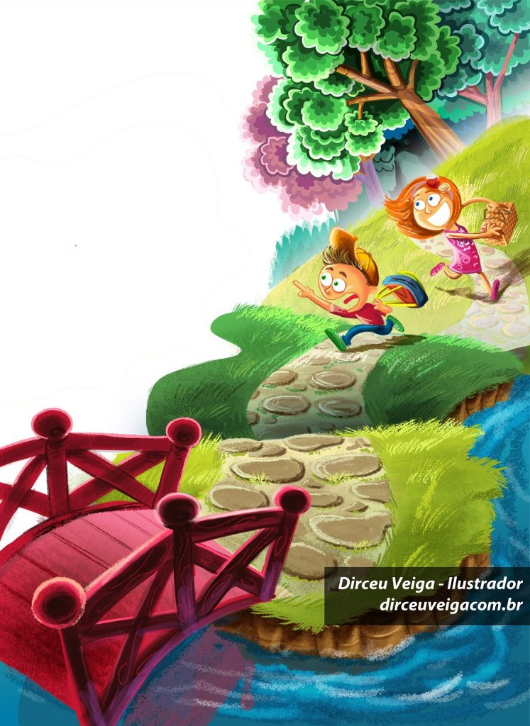 Ilustração crianças correndo