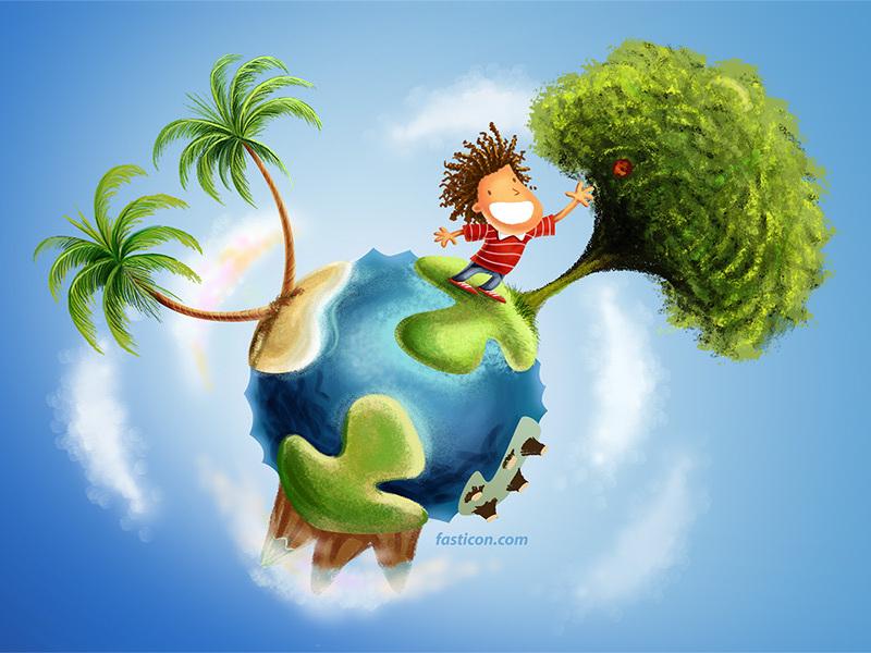 Ilustração Infantil Menino e Árvore