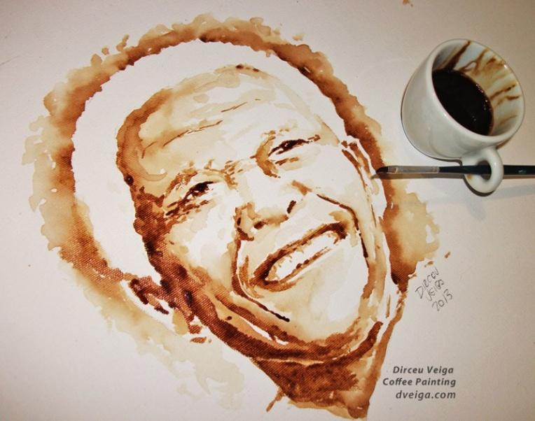 Nelson Mandela Coffee Art